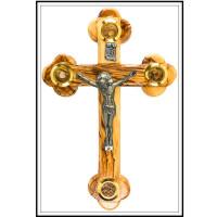 Крест из оливкового дерева со святынями из Иерусалима. Содержит Святую землю,освящённый ладан,благовония. Ручная работа. Изготовлен в Вифлееме местными христианскими мастерами по дереву. Освящён в Храме Гроба Господня в Иерусалиме.