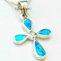 Серебряный кулон крест с голубым опалом