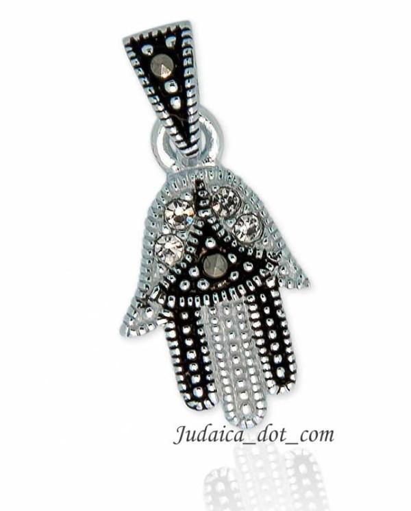 Кулон Хамса с цирконами капельное серебро