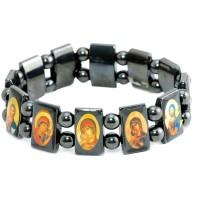 Гематитовый браслет с ликами святых покровителей 3 шт