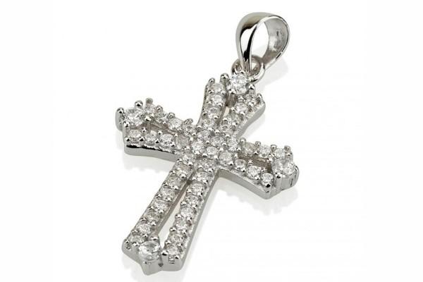 Крест нательный из серебра с цирконами