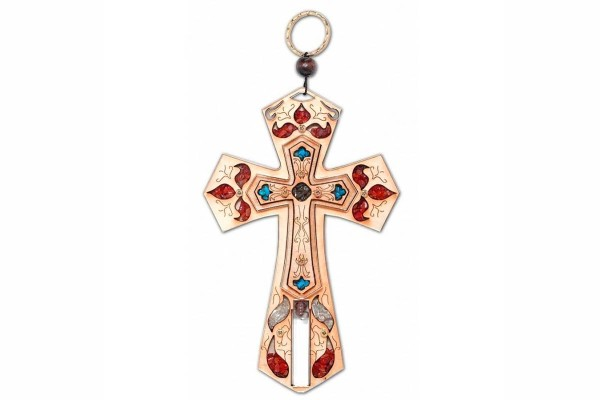 Деревянный настенный крест со Святой водой