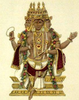 Brahma hindu con tres caras