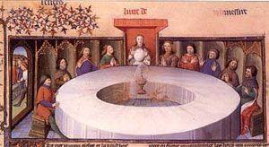 santo grial presidiendo mesa redonda