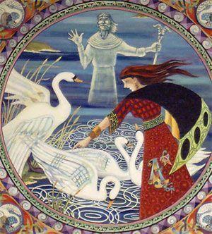 Aife la esposa de Lir convirtiendo en cisnes a los hijos de Lir