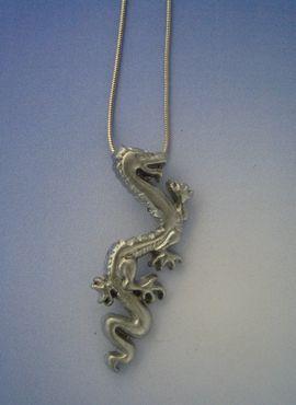 colgante dragón chino Lung amuleto colgante de plata