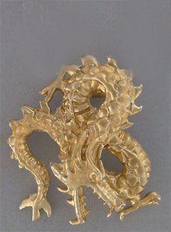 dragón japonés colgante oro fu ku riu