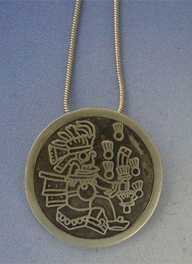 colgante tlaloc dios azteca de la lluvia en plata de ley