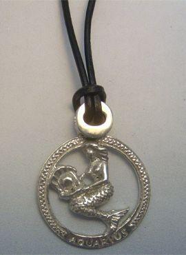 colgante horóscopo acuario de plata