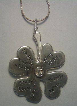 trébol de plata mágico 4 hoas amuleto de plata