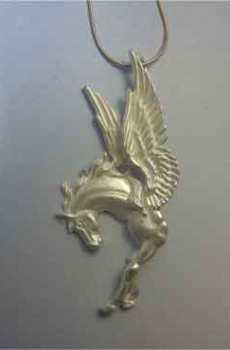 colgante Pegasus de plata de Pegasus amuleto griego