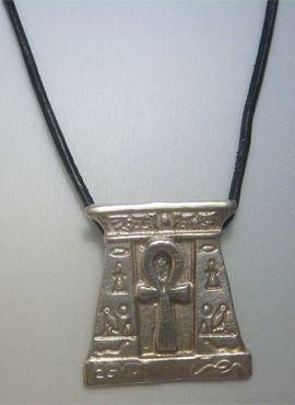 cruz egipcia de la puerta de la inmortalidad, amuleto egipcio en plata de ley