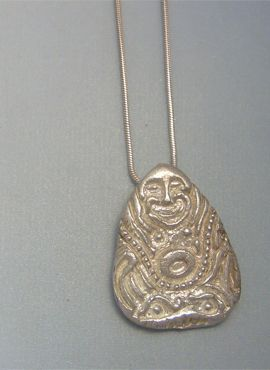 colgante Buda riqueza amuleto de plata para la prosperidad
