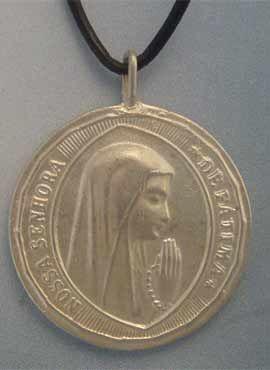 colgante medalla virgen fatima plata