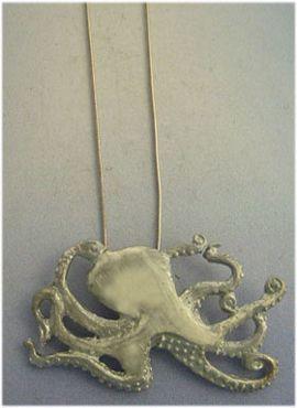 colgante pulpo plata amuleto con cadena incluìda