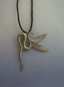 colgante Wadjet diosa amuleto egipcio de la diosa cobra de plata