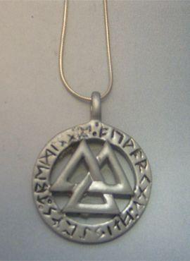 valknut de plata colgante amuleto vikingo