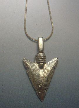 colgante de flecha punta de silex de plata