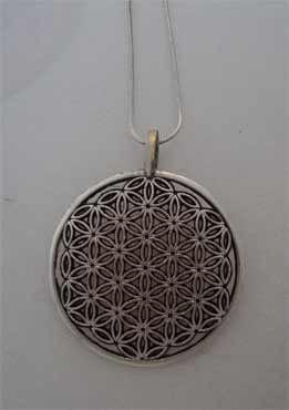 amuleto flor de la vida, colgante de plata