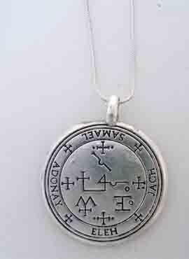 colgante sello de Samael talismán angélico de plata