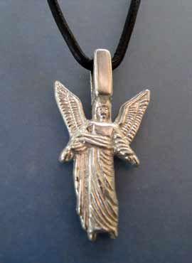 angel Uriel amuleto de plata de ley