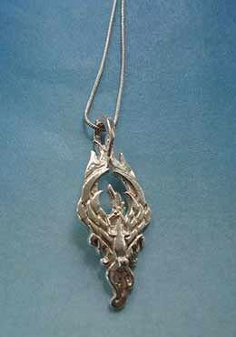 colgante ave fenix y cadena de plata