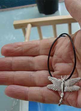 colgante libélula de plata amuleto