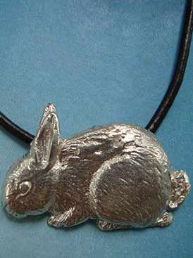 colgante conejo de plata
