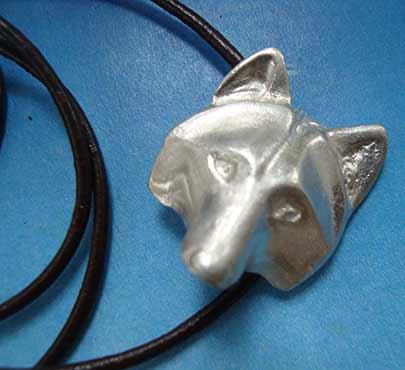 colgante collar coyote de plata