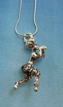 colgante de fauno collar de plata