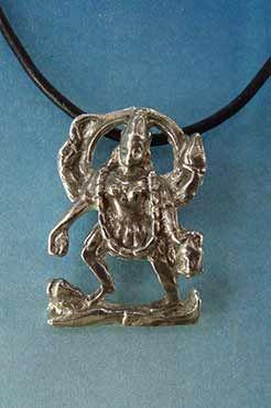 diosa kali hindu, colgante plata