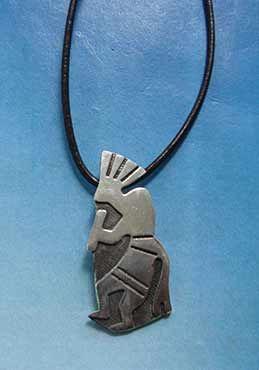 colgante kokopelli amuleto de plata