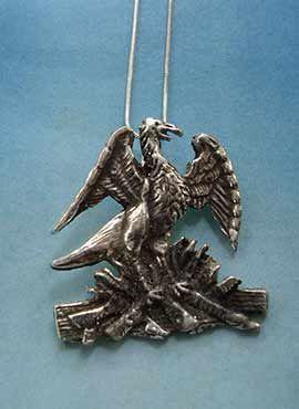 colgante ave fenix phoenix cadena de plata