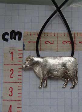 colgante vaca, medidas joya