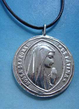 colgante de la virgen de Fátima medalla de plata