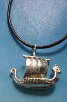 amuleto drakkar barco vikingo colgante de plata
