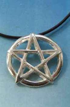 pentáculo pentagrama mágico amuleto wiccano colgante de plata