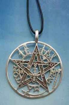 joya del tetragrammaton gran medallón del tegragrammaton símbolo grabado finamente en plata de ley, Collar grande que combina la plata óxido con la plata brillante
