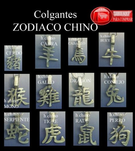 colgantes zodiacales del horócopo chino