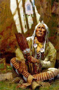 El anciano en la tribu india merecía respeto