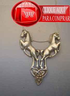 colgante caballos celtas de plata