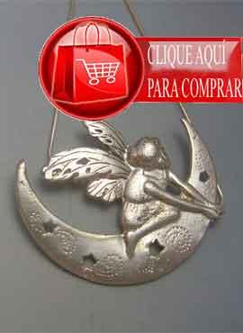 duende lunar colgante de plata