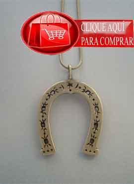 herradura de plata colgante amuleto de la suerte