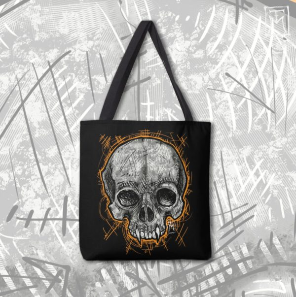 Tote Bag with Vampire Skull Design