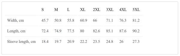 Gildan Heavy Cotton Size Chart Metric