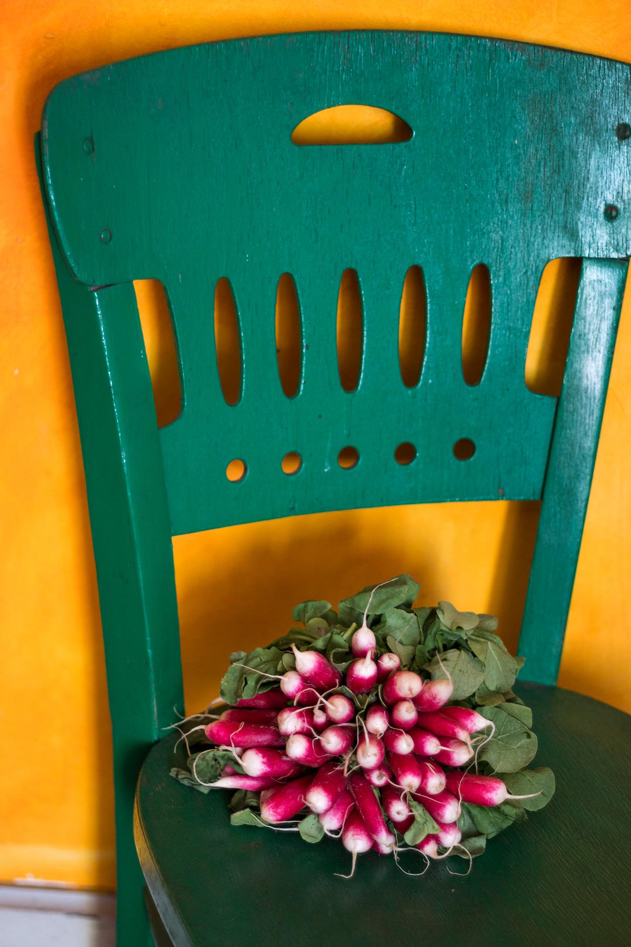 Radieschen auf gruenem Stuhl
