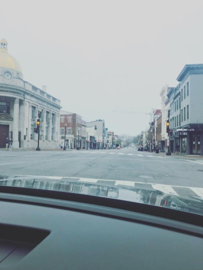 Sunday, March 29, 2020 - 'This road never looked so lonely'—Imagine Dragons. #nosundaybrunchtoday #familydrive #wisconsinandm Washington, DC. By Kristi Devlin Delovitch.