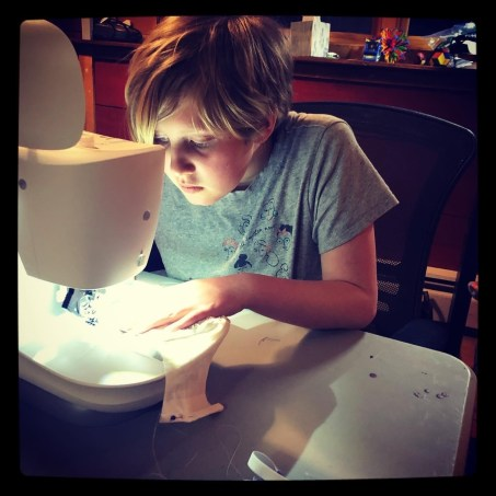 Saturday, April 4, 2020 – Making Mimi proud. Sewing masks for the family from scraps and old sheets. Evergreen, CO. Teresa Barnes