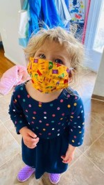 Sunday, April 5, 2020 – Mask modeling. Frederick, MD. Liz Morman