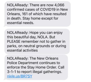 Sunday, April 5, 2020 – NOLAReady: The New Orleans Police Department continues to enforce the Stay Home Order. Call 3-1-1 to report illegal gatherings. New Orleans, LA. Stephanie Hepburn